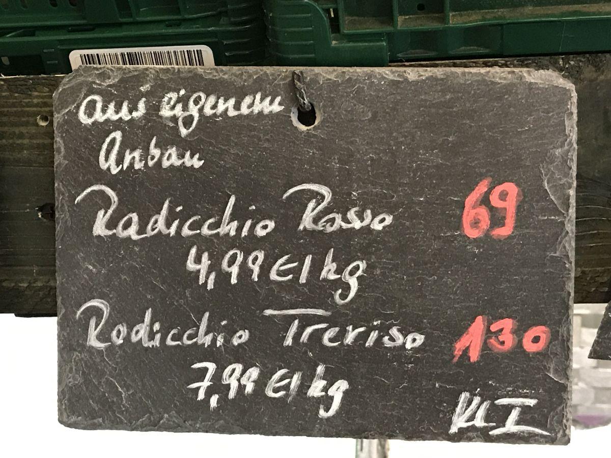 Schiefertafel Radicchio