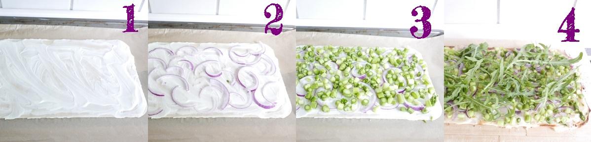 Step-Fotos Flammkuchen mit Spargel und Rucola