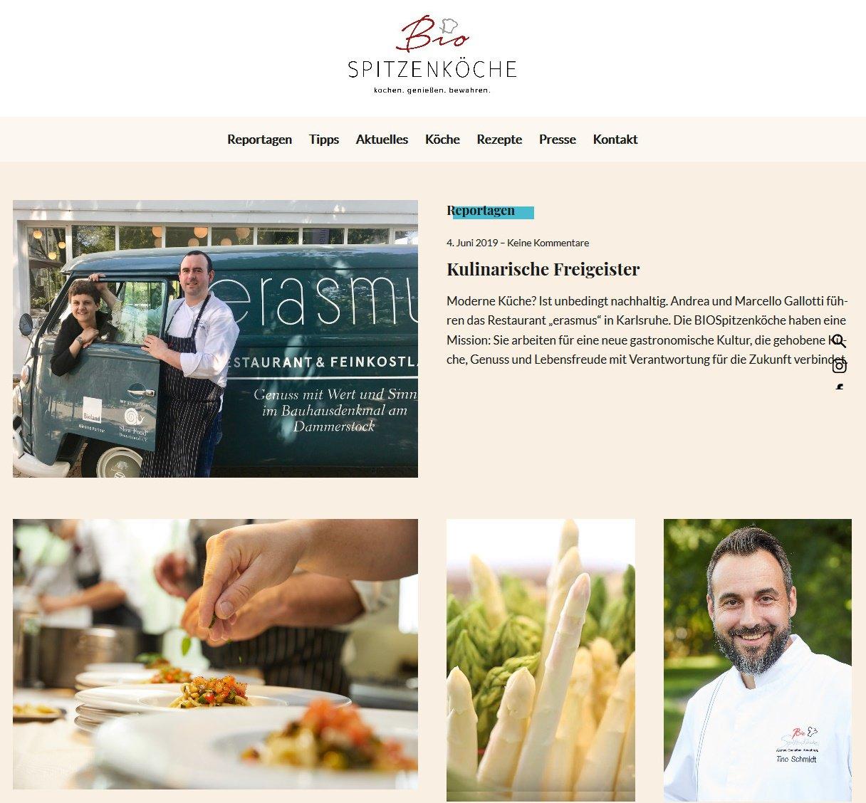 Screenshot Startseite biospitzenkoeche-blog.de