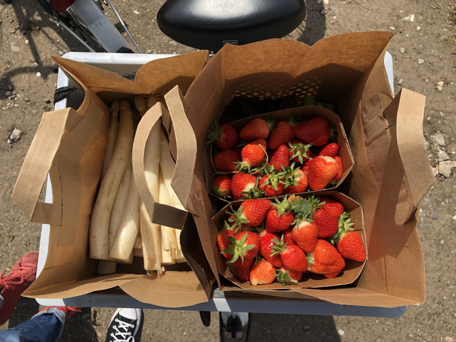 Erdbeeren und Spargel im Fahrradkorb