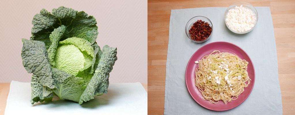 Kohlkopf und Spaghetti mit Wirsing